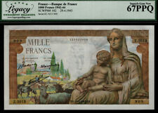 TT PK 102 1942-44 FRANCE 1000 FRANCS CERES & HERMES LCG 67 PPQ SUPERB GEM NEW!