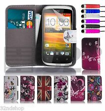 Design Book Wallet Card Slot Case Cover For HTC Desire C + Screen Protector