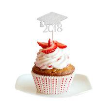 20pcs Pack 2018 Graduation Cap Cupcake Picks Cake Toppers Decor