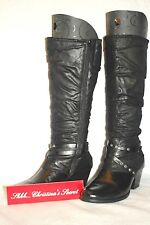 WEAR EVER  Black Boots Leather Look Knee-High Western/Gaucho Sz 9.5M * VG+++