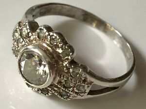 Vintage sterling silver and clear stone cluster ring band size Q 1/2 statement