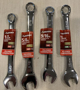 4 New Husky Polished Combination Wrenches See Phots And Description