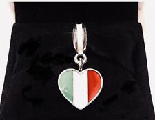 Authentic PANDORA ITALY HEART FLAG Charm W/ Pandora TAG & HINGED BOX #791547ENMX