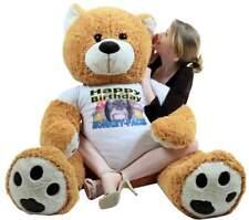 Giant Happy Birthday Teddy Bear 55 Inch Wears Tshirt HAPPY BIRTHDAY MONKEY FACE