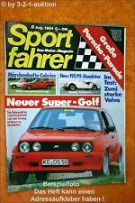 Sportfahrer 8/84 VW Golf Gti Abate Morgan + 8 Renault Fuego Volvo 360