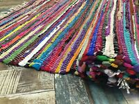 SHABBY CHIC RAG RUG MULTI COLOUR FRINGE INDIAN RECYCLED CHINDI FLAT WEAVE MAT