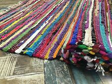 ❤️SHABBY CHIC RAG RUG MULTI COLOUR FRINGE INDIAN RECYCLED CHINDI FLAT WEAVE MAT