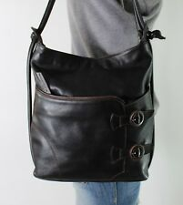 HISPANITAS Medium Black Leather Shoulder Hobo Tote Satchel Purse Bag