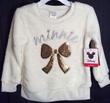 NWT Girls Jumping Beans DISNEY MINNIE Sweatshirt 2T White Soft Gold Sequin Bow