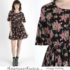 Vintage 90s Black Floral Dress Babydoll Grunge Gauze Draped Boho Hippie Mini S
