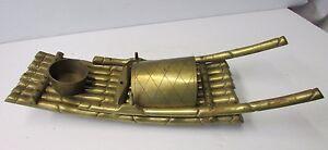 Vintage Handmade Brass Chinese Bamboo Sail Raft Boat Candle/Incense Burner