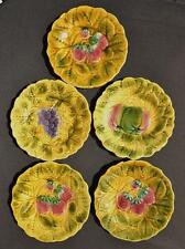 "5 Sarreguemines French Majolica Fruit Plates 7.5"" France"