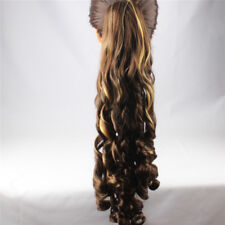 Women's Hair Ponytail Extension Claw in Spiral Curl Natural Long Easy to Attach