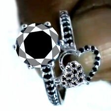 Sterling Silver Engagement Ring Size 8 3.51 Ct Black Color Real Moissanite 925
