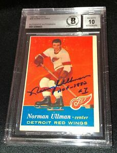 NORM ULLMAN SIGNED 1957 TOPPS RED WINGS CARD BECKETT AUTHENTIC AUTO GRADE 10