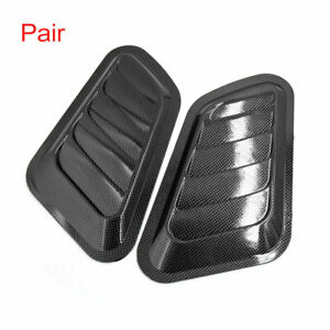 Pair Black Car Side Vent Hole Cover Air Flow Fender Intake Decoration Stickers
