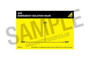 Gas Safe Emergency Isolation Valve Tear Resistant Labels