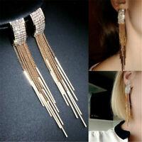 Gold Long Tassel Chain Crystal Earrings Women Drop Dangle Stud Jewelry Gifts Hot