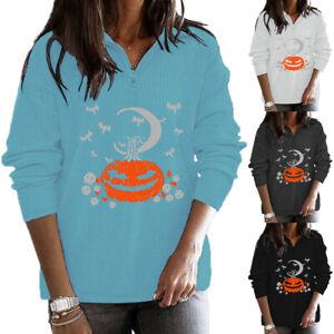 Women Halloween Pumpkin Print Long Sleeve T Shirt Top Zip Neck Casual Sweatshirt
