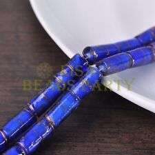 5pcs 20x10mm Deep Blue Tube Cylinder Shape Lampwork Glass Loose Spacer Beads