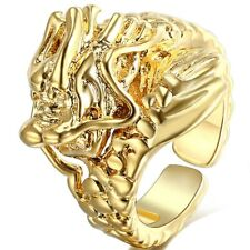 Color punk rock style For Men Large Ring Adjustable Size With Dragon Gold