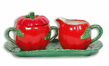 Tomato Creamer and Sugar Set with Tray 4pcs Maruhon Ware Occupied Japan