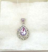 Silver Plated Amethyst Teardrop CZ & Rhinestone Pendant Necklace Fashion