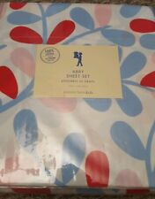 New Pottery Barn Kids FLORAL Twin SHEETS Pink BLUE Red Abby girls