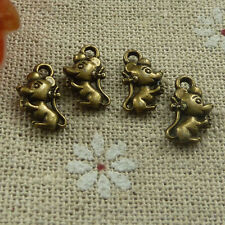 Free Ship 280 pieces Antique bronze mouse charms 12x7mm #1801