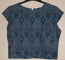 NEON ROSE Ladies Crop Top - Green / Blue Damask - Size 14