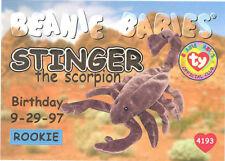 Ty Beanie Babies Bboc Card - Series 1 Birthday (Gold) - Stinger the Scorpion