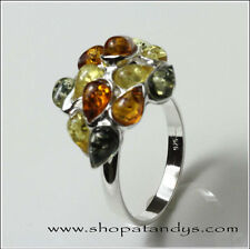 GENUINE BALTIC AMBER 925 STERLING SILVER RING SIZE 5