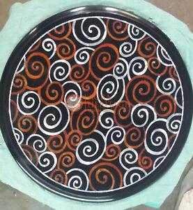 Marble Black Round Coffee Customize Table Top Carnelian Mosaic Inlaid Arts Decor