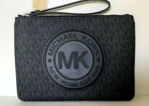 New Michael Kors Fulton Sport XL zip clutch wristlet Signature PVC Black