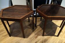 Rosewood Hexagonal Side Tables (2) Made in Denmark by Artos
