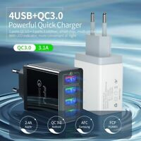 4 Multi-Port Quick Charge QC3.0 USB Hub Mains Wall Charger Adapter US EU UK Plug