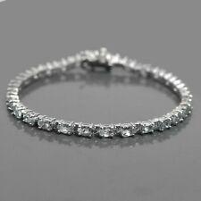925 Sterling Silver Oval Cut Natural Gemstone Aquamarine Tennis Bracelet