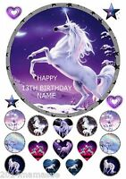 """UNICORN MAGICAL HORSE 7.5"""" ROUND CAKE TOPPER WAFER CARD RICE PAPER & 18 EXTRAS"""