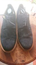 Walk Over Mens Oxford Shoes Size 12 Navy Blue Suede w/ Lime Green Lower