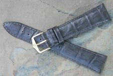 Hirsch 20mm Dark Grey alligator pattern leather watch band great color & texture