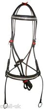 New Crystal Detail Cross Over Bitless Leather Bridle web grip reins FULL (Brown)