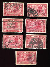 (1912-13) Q7 15¢ Parcel Post - Automobile lot of 7 used stamps