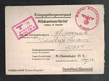 1944 Yugoslavia Cover to Prisoner of War POW Stalag 9B Germany Gestapo Censor