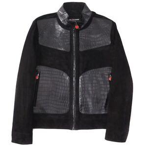 NWT $37,995 KITON NAPOLI Black Suede Leather and Crocodile Jacket S (Eu 48)