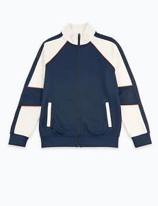 M&S Marks Spencer Boys Stripe Detail Zip Through Sweatshirt Navy Blue/White BNWT