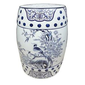 Chinese Ceramic Stool / Plant Stand - Blue and White Pheasants and Peonies