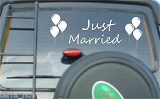 Just Married Wedding Car Window Banner Signs Sticker Decals Vinyl Balloons