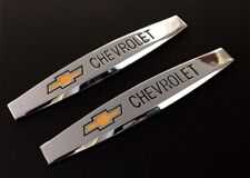 2Pcs Chevrolet Chrome Metal Car Trunk Side Fenders Emblem Badge Decal Sticker