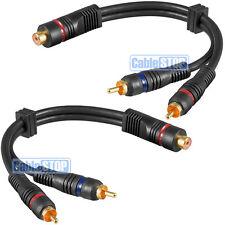 2 X Pro 20cm RCA Fono Y Splitter Cable 1 hembra a macho 2 X COCHE AMP SUB Plomo