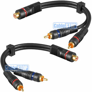 2 x PRO 20cm RCA PHONO Y SPLITTER CABLE 1 Female to 2 x Male CAR AMP SUB LEAD